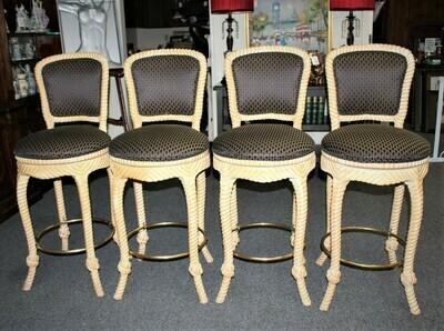 Set of 4 Italian Carved Wood Rope and Tassel Upholstered Swivel Bar Stools