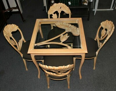 Italian Floral Carved Table with Four Upholstered Floral Back Chairs - RARE