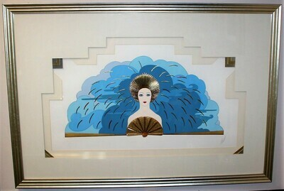 ERTE The Storm 1987 Serigraph Framed Art with Foil Stamping, Signed and Numbered