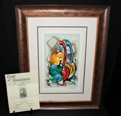 David Schluss Duet Limited Edition 122/350 Framed Silkscreen Serigraph, Signed