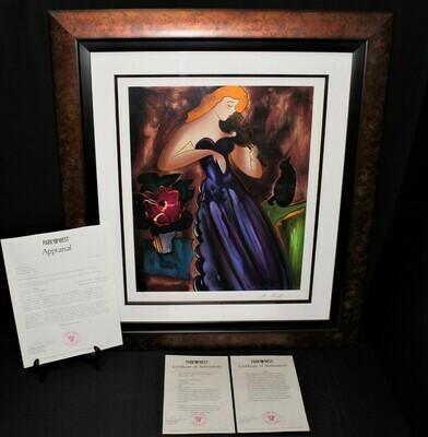 Linda Le Kinff Donatienne in Violets 29x26 Framed Serigraph Limited 12/85 Signed