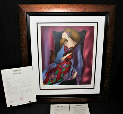 Linda Le Kinff Conchita a'la Guitare II 29x26 Framed Serigraph 105/160, Signed