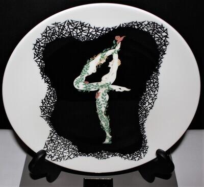 "ERTE The Numerals 4 Nude Couple Art Deco 9"" Bone China Plate in Box, A3207"