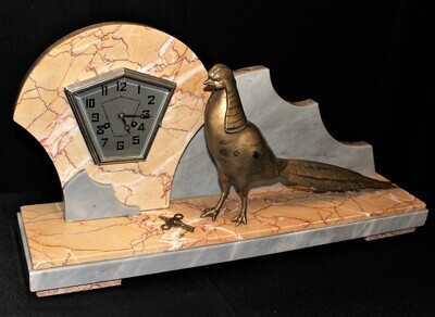 Fritz Marti Large French Art Deco Marble Cased Bronze Peacock Sculpture Mantel Clock