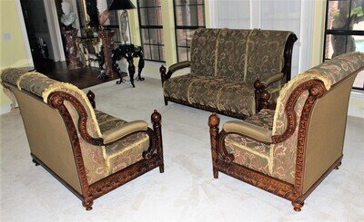 Antique Heavily Carved Upholstered Loveseat, Settee and Armchair Parlour Suite