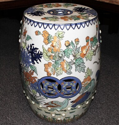 Macau Chinese Hand Painted Porcelain Flowers and Birds Garden Stool
