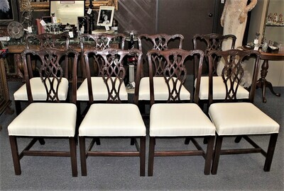Set of 8 KINDEL Mahogany Chippendale Style Upholstered Dining Room Chairs