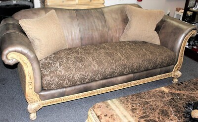 Schnadig Empire Collection High-End Carved Wood Sofa with Bench Seat Cushion