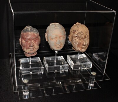 Set of 3 Chinese Han Dynasty Terracotta Heads on Lucite Stands in Display Case