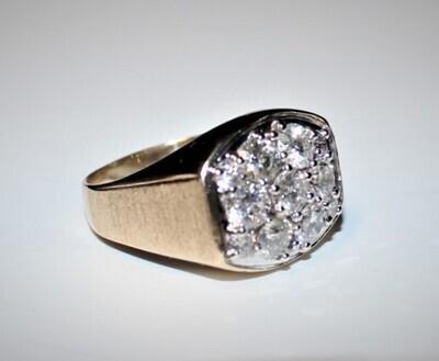 Men's 14kt Yellow Gold Satin Finish Cluster Diamond Ring, Size 12