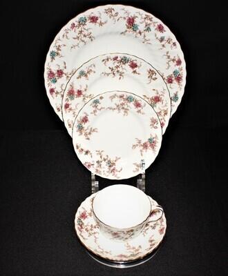 Minton Ancestral 5-Piece Place Setting, Floral English Bone China Dinnerware Set