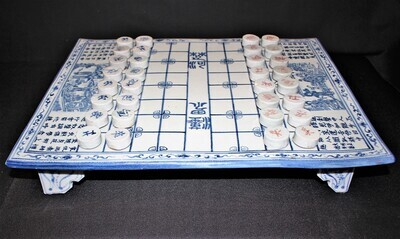 Rare Chinese Full Size Blue & White Porcelain Chess Xiangqi Board Game, Complete