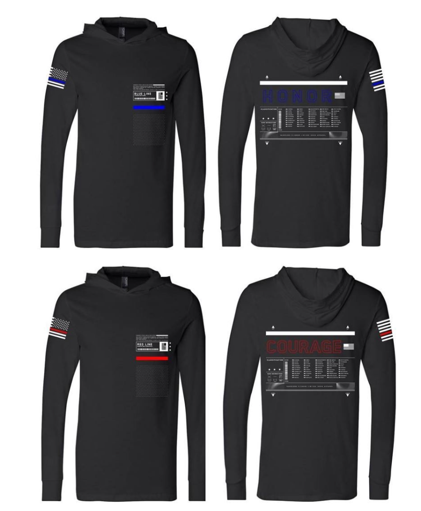 Police and Fire Long Sleeve Hooded Shirt (red line/Blue Line)