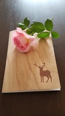 Notizheft in DIN A5 mit besonderem Holzumschlag und individuellem Namen oder Logo
