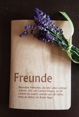 """Notizheft """"Freunde"""" DIN A5 mit besonderem Holzumschlag"""
