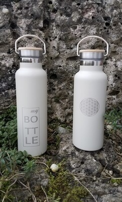 """Edelstahlflasche """"my bottle"""" u. """"Blume des Lebens"""""""
