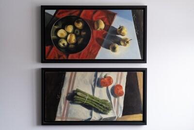 Dyptyk: jabłka i szparagi z RAMAMI