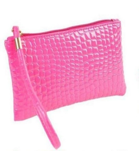 womens pink PU Leather clutch bag