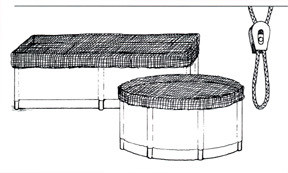 """FISH TANK COVERS BY NYCON 5'-6' Round 1/4"""" Black Polyester Includes Drawstring an dlocking device."""