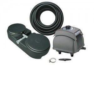 "Matala EZ Air 10000 Plus PONDS UP TO 10,000 GALLONS. kIT CONTAINS: HK-80 AIR PUMP THAT DELIVERS 86 LPM:30' WEIGHTED AIR LINE.WEIGHTED BASE WITH 2] 9"" AIR DISKS, FILTTING, CLAMPS."