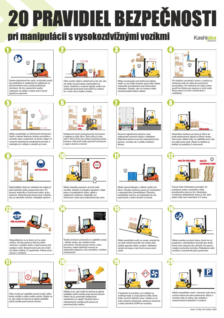 20 pravidiel bezpecnosti pri manipulácii s vysokozdvižnými vozíkmi