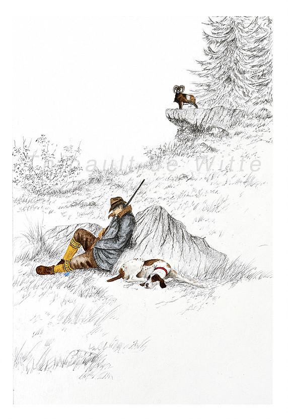 Chasseur et Mouflon
