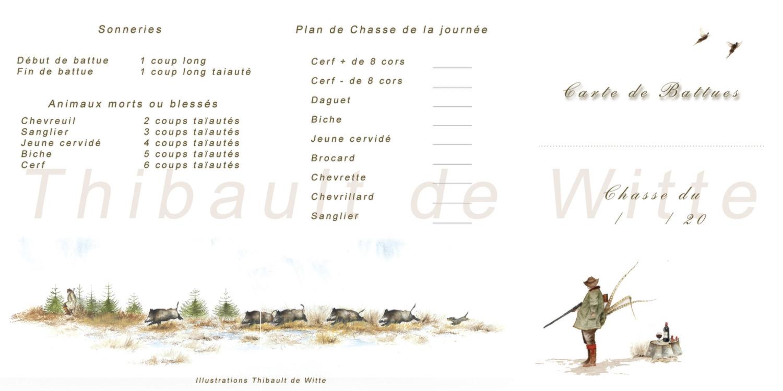 """Cartes de Battues dite """"Polonaise"""" - Sangliers"""