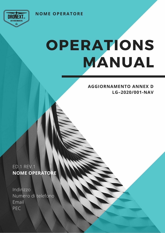 MANUALE DELLE OPERAZIONI DRONE - OBBLIGATORIO - AGGIORNAMENTO ANNEX D LG–2020/001-NAV ENAC EASA