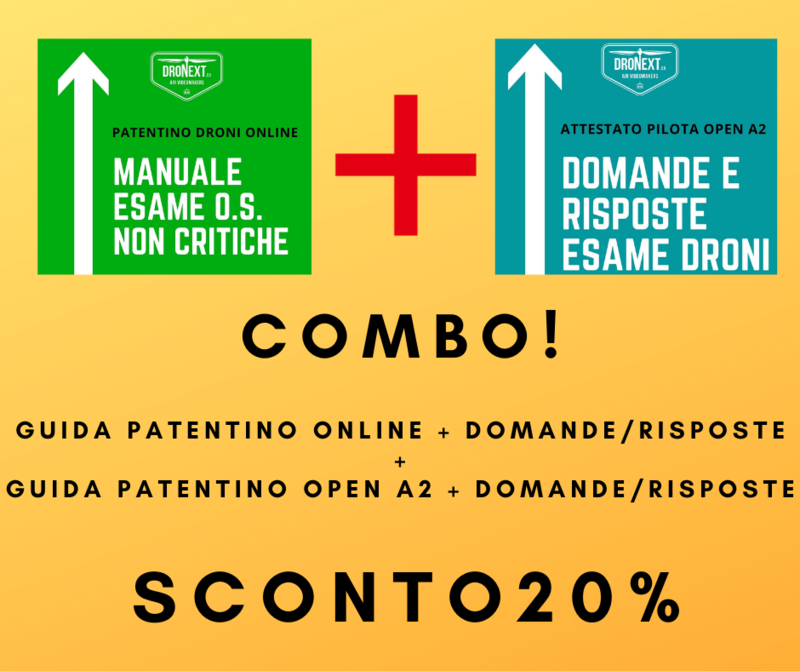 COMBO GUIDA PATENTINO DRONI ONLINE A1-A3 + OPEN A2 + DOMANDE E RISPOSTE