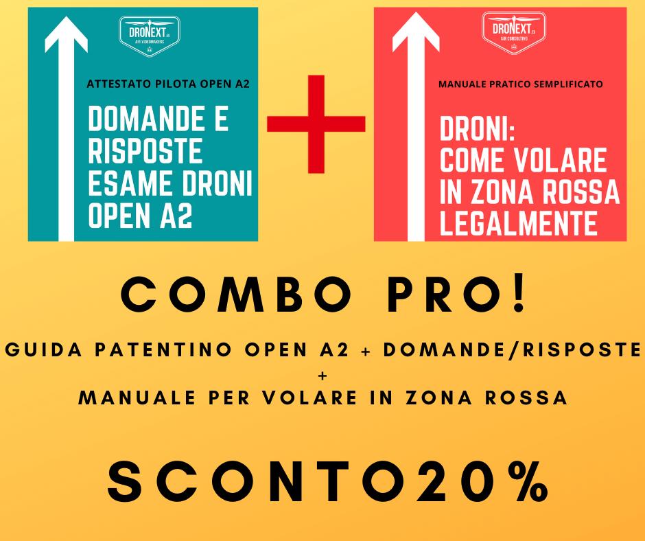 COMBO GUIDA PATENTINO DRONI OPEN A2 + MANUALE PER VOLARE IN ZONA ROSSA