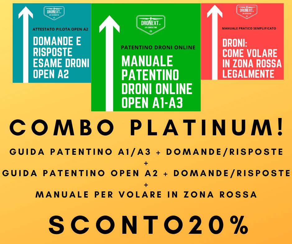 COMBO GUIDA PATENTINO DRONI ONLINE A1-A3 + OPEN A2 + DOMANDE E RISPOSTE + VOLARE LEGALMENTE IN ZONE ROSSA