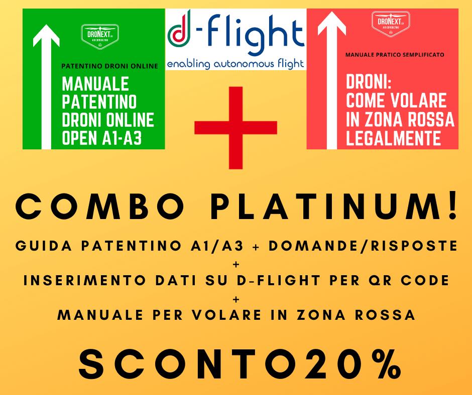 COMBO GUIDA PATENTINO DRONI ONLINE A1-A3 + DOMANDE E RISPOSTE + INSERIMENTO DATI SU D-FLIGHT + VOLARE LEGALMENTE IN ZONE ROSSA
