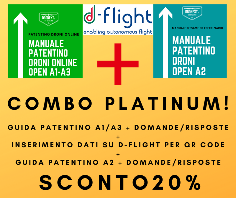 COMBO GUIDA PATENTINO DRONI ONLINE A1-A3 + OPEN A2 + DOMANDE E RISPOSTE + D-FLIGHT