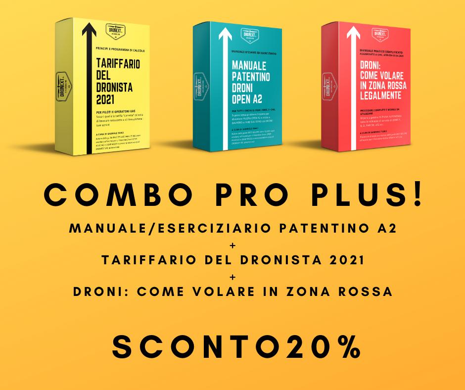 COMBO TARIFFARIO + MANUALE PER VOLARE IN ZONA ROSSA + PATENTINO DRONE A2 ONLINE DA CASA