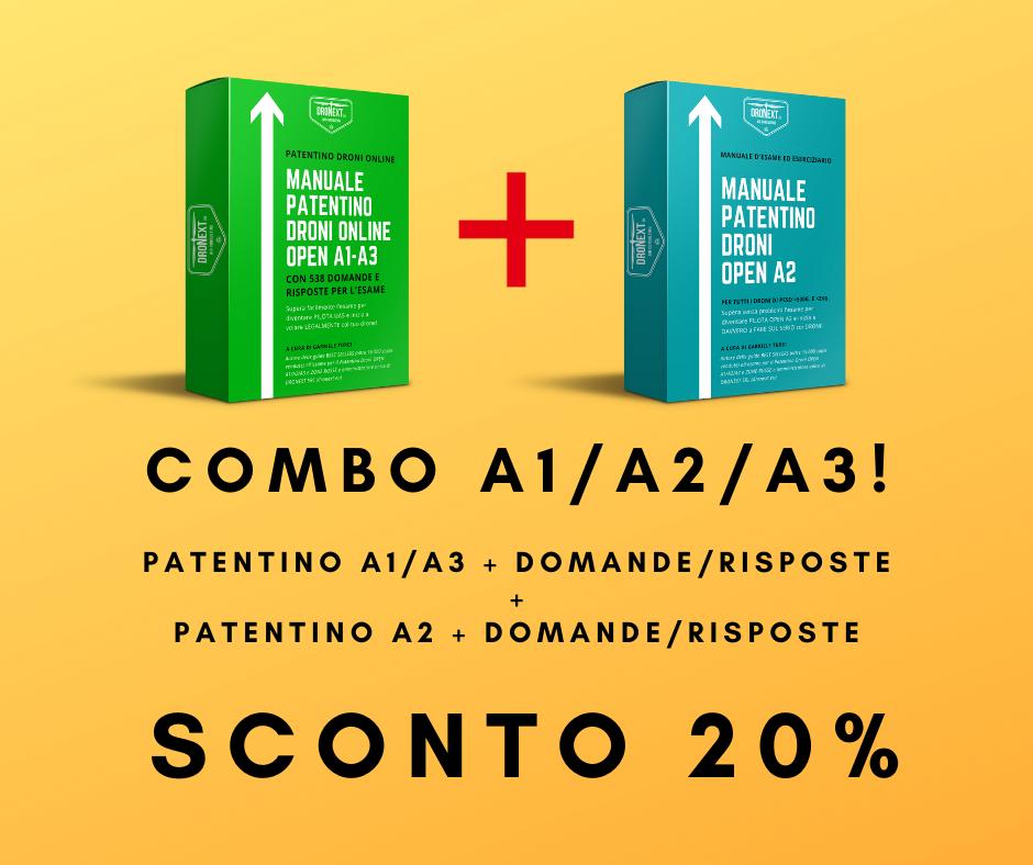 COMBO GUIDA PATENTINO DRONE A1/A2/A3  ONLINE DA CASA + DOMANDE E RISPOSTE