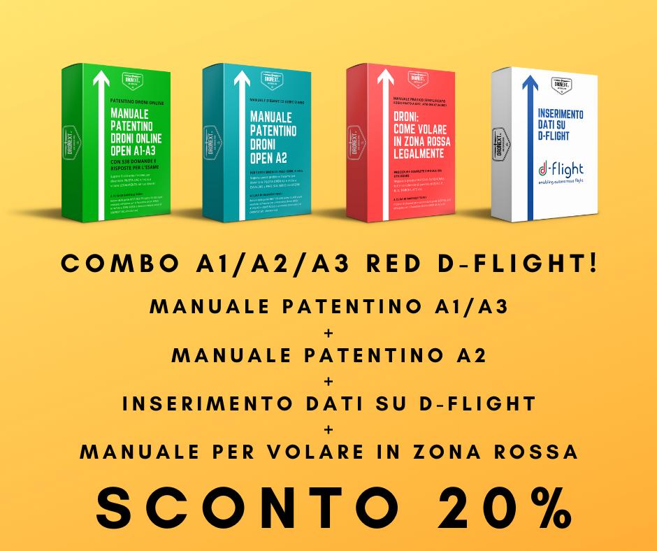 COMBO GUIDA PATENTINO DRONE A1/A2/A3 ONLINE DA CASA + DOMANDE E RISPOSTE + INSERIMENTO DATI SU D-FLIGHT + VOLARE LEGALMENTE IN ZONE ROSSA