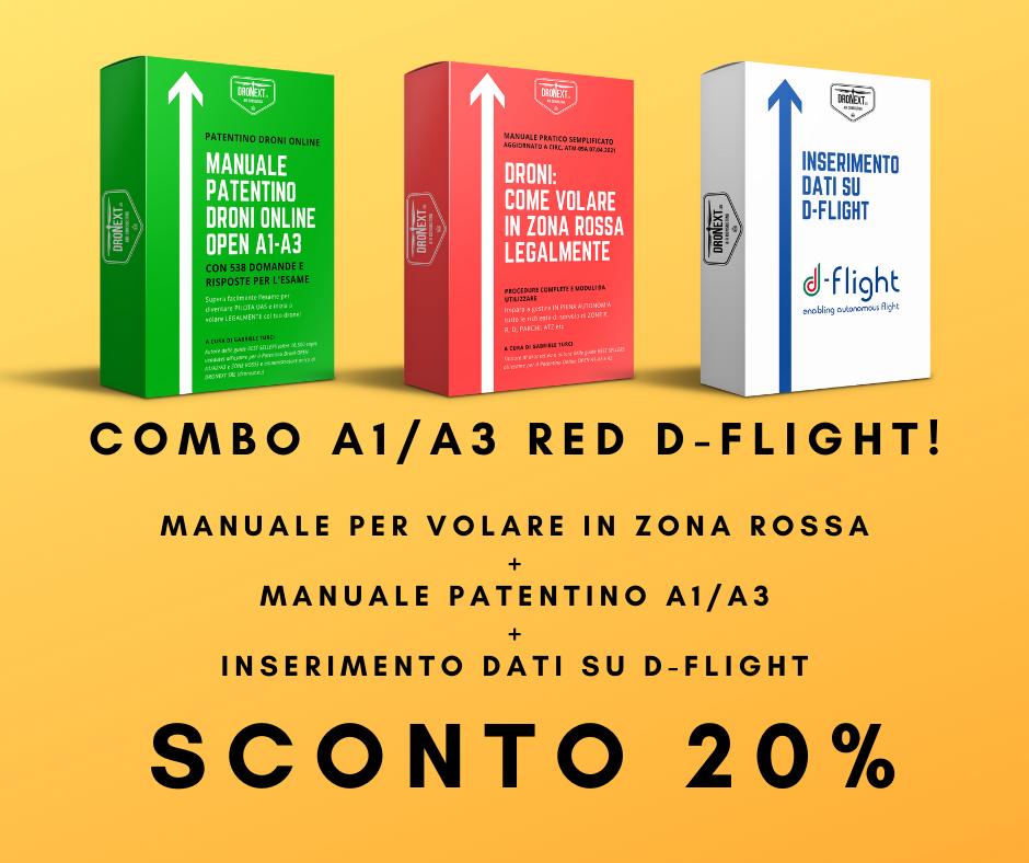 COMBO GUIDA PATENTINO DRONI ONLINE A1/A3 + DOMANDE E RISPOSTE + INSERIMENTO DATI SU D-FLIGHT + VOLARE LEGALMENTE IN ZONE ROSSA