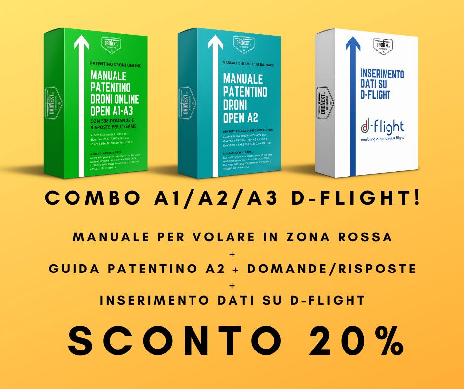 COMBO GUIDA PATENTINO DRONI ONLINE A1/A3 + OPEN A2 + DOMANDE E RISPOSTE + D-FLIGHT