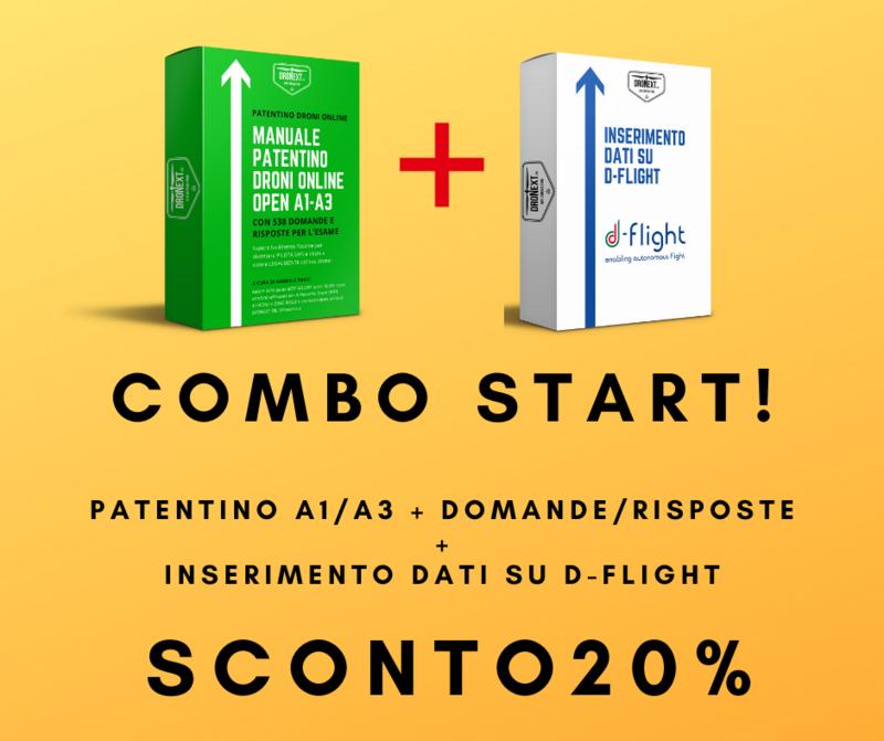 COMBO GUIDA PATENTINO DRONE A1/A3 ONLINE DA CASA + DOMANDE E RISPOSTE + REGISTRAZIONE D-FLIGHT