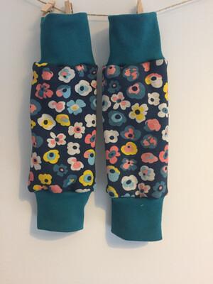 Blue Flowers Alpine Fleece Leg Warmers - alternative cuffs available