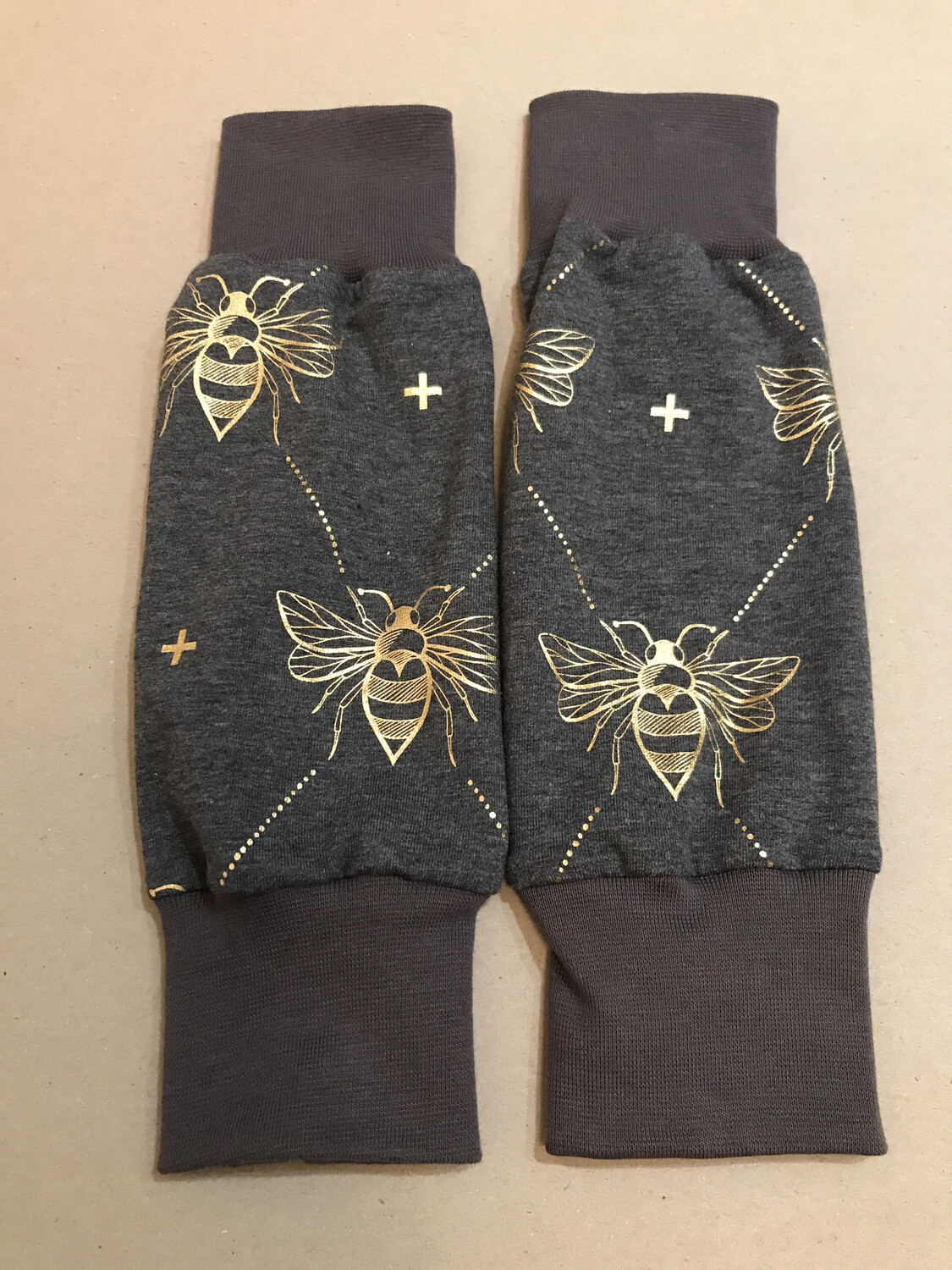 Grey Gold Bee Baby Leg Warmers - alternative cuffs available