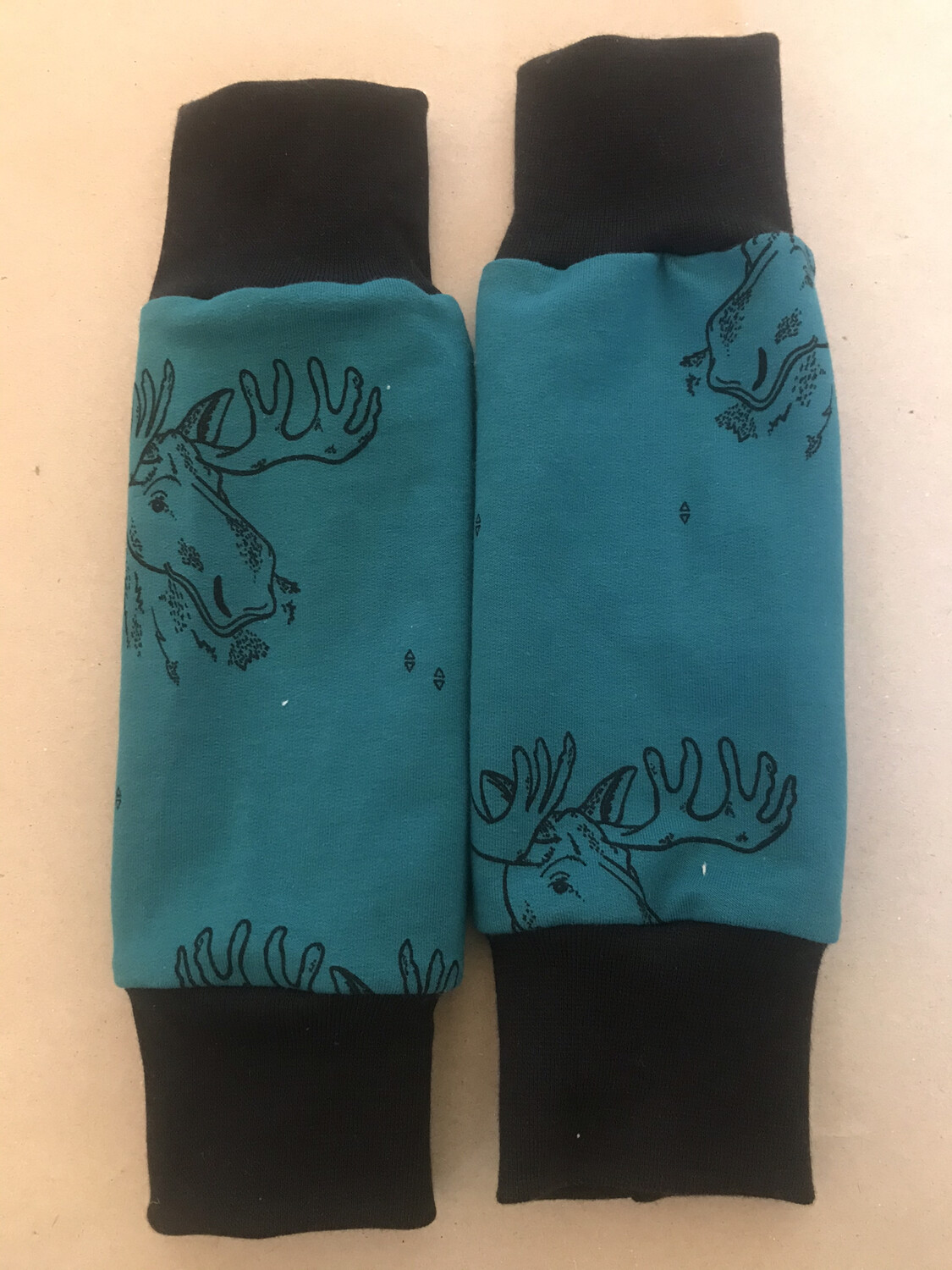 Teal Moose Baby Leg Warmers - alternative cuffs available