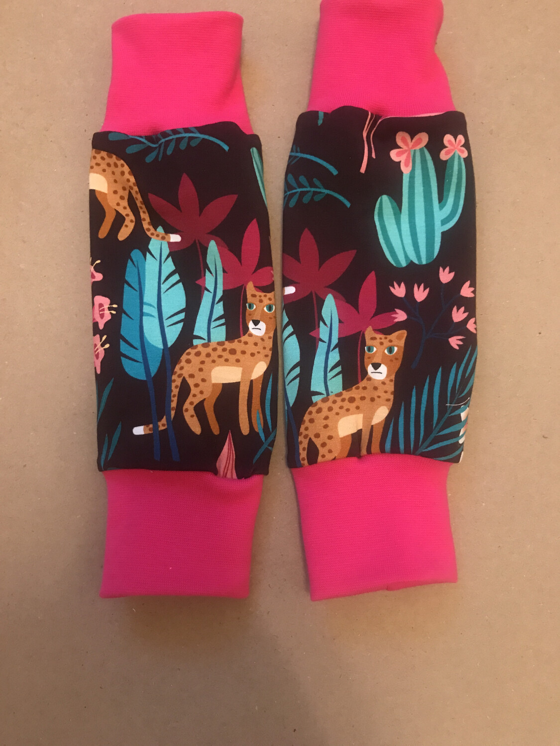 Ready To Go- Maroon Jungle Baby Leg Warmers - Pink Cuffs