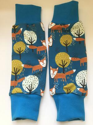 Petrol Blue Fox Baby Leg Warmers- alternative Cuff available