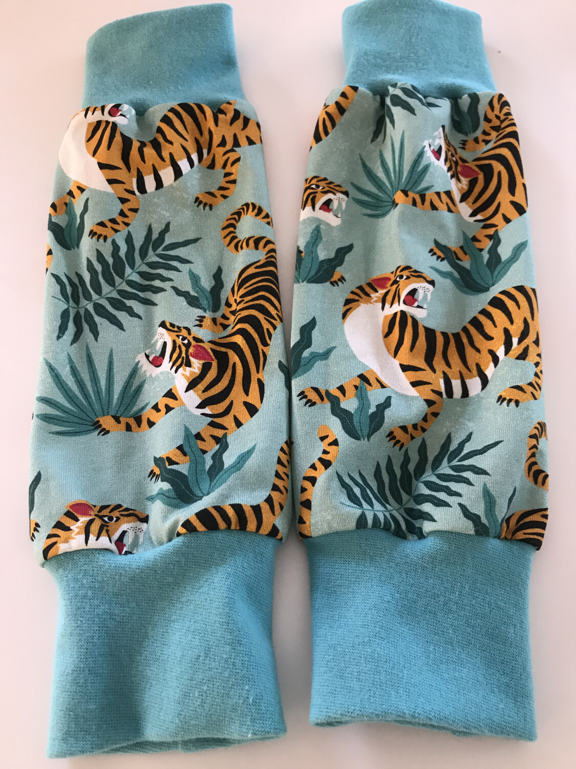 Turquoise Tiger Leg Warmers - alternative cuffs available