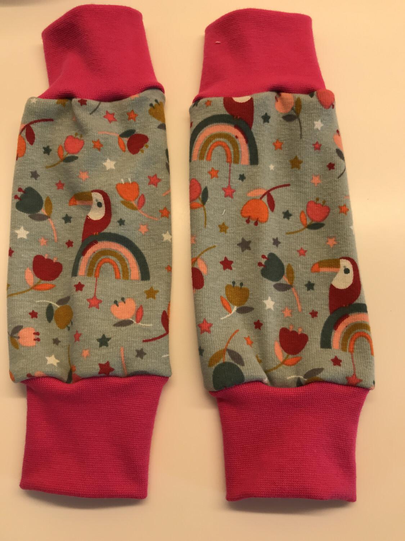 Mint Rainbow Toucan Alpine Fleece Leg Warmers - alternative cuffs available