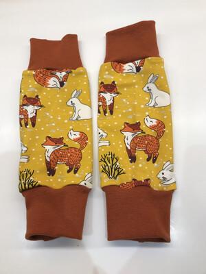 Ochre Yellow Snowy Fox Baby Leg Warmers - alternative cuffs available