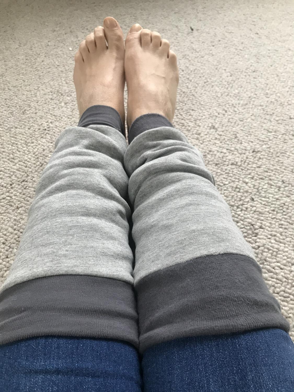 Grey sweatshirt leg warmers