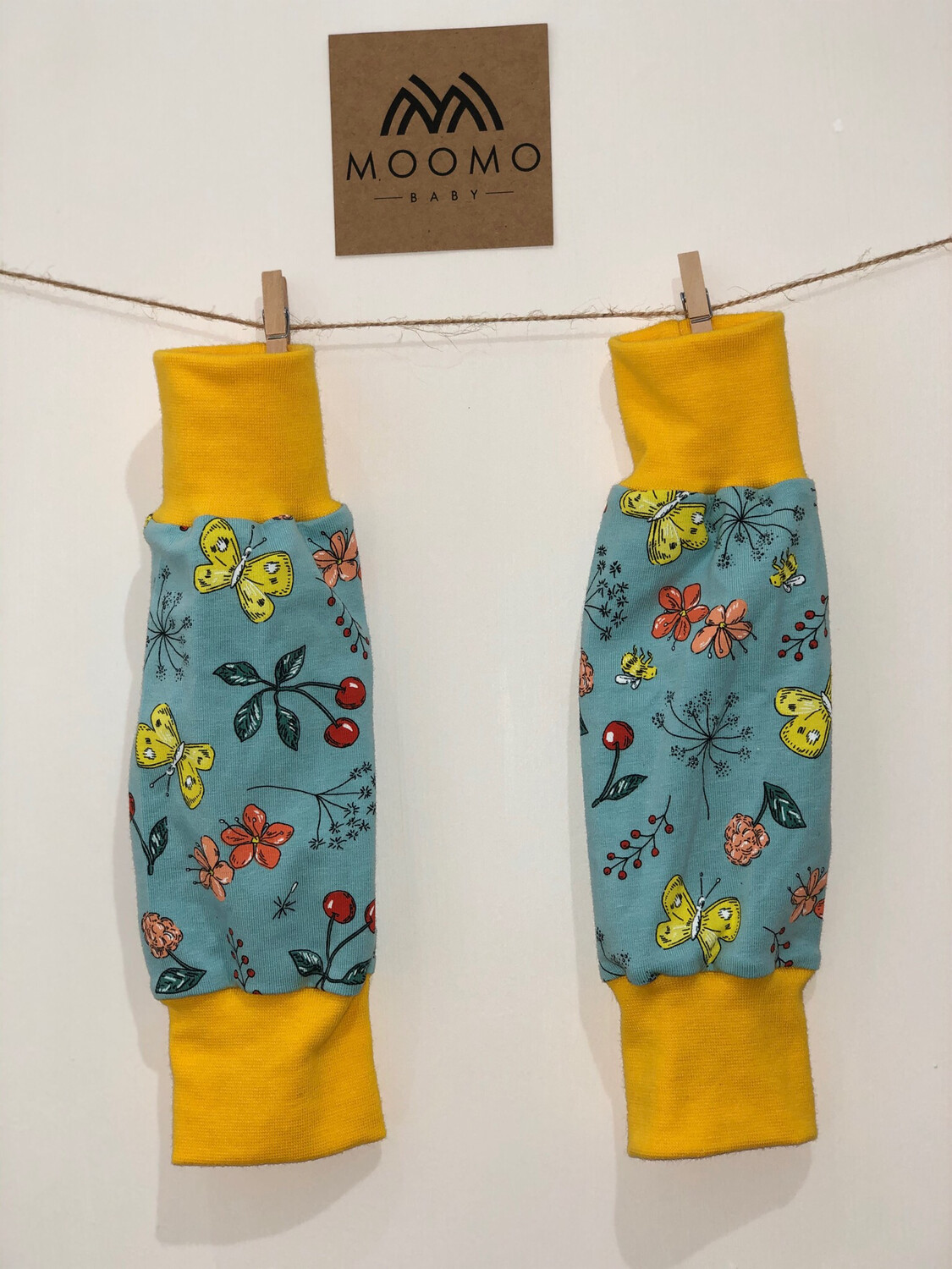 READY TO GO Blue & Yellow Butterfly Baby Leg Warmers