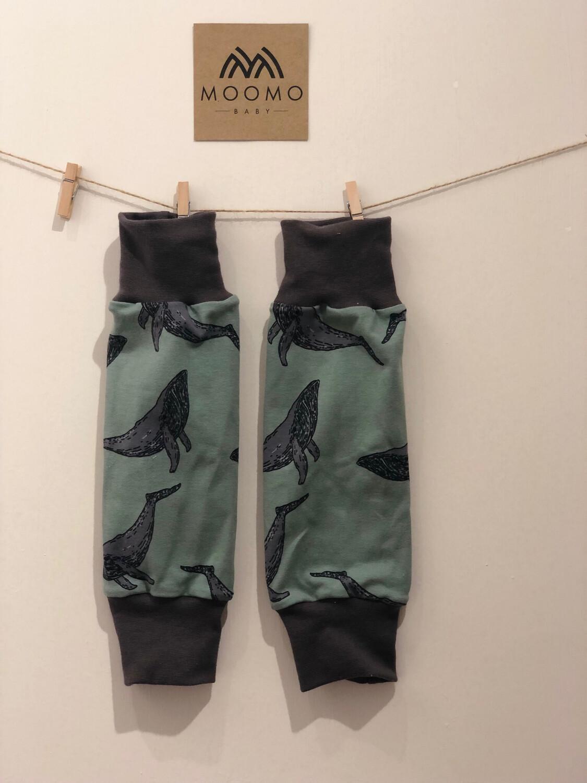 Ready to Go Iceberg Green Whale Baby Leg Warmers - grey cuffs
